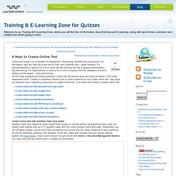 Training & E-Learning Zone for Quizzes
