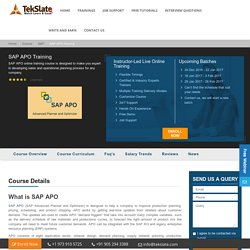 SAP APO Training Online With Live Projects