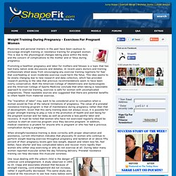 Weight Training During Pregnancy - Exercises For Pregnant Women