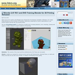 Blender 2.67 RC1 and DVD Training Blender for 3D Printing Released