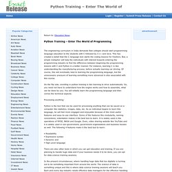The World of Programming - Python Training