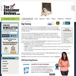 Dog Training Programs 2014 - Reviewed and Ranked
