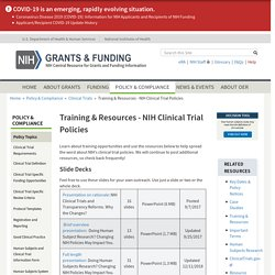 Training & Resources - NIH Clinical Trial Policies