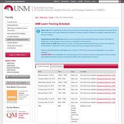 UNM Learn Training Schedule