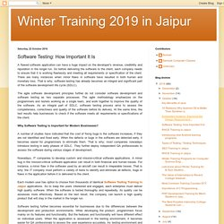 Winter Training 2019 in Jaipur: Software Testing: How Important It Is