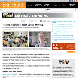 Training Teachers to Teach Critical Thinking