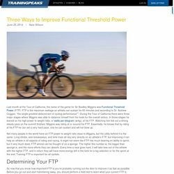 Three Ways to Improve Functional Threshold Power
