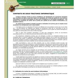 CONTRATS DE SOUS-TRAITANCE INFORMATIQUE