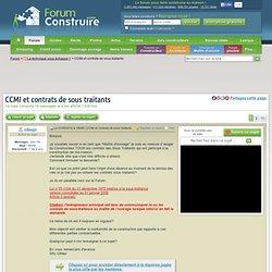 CCMI et contrats de sous traitants (16 messages
