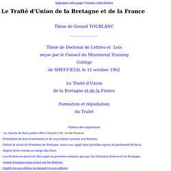 Le Traité d'Union de la Bretagne et de la France