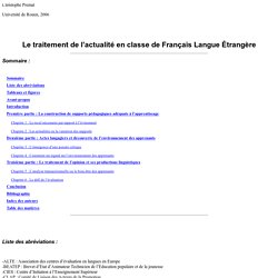 Le traitement de l'actualité en classe de Français Langue étran
