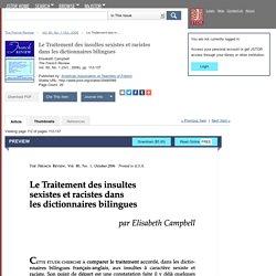 Le Traitement des insultes sexistes et racistes dans les dictionnaires bilingues on JSTOR