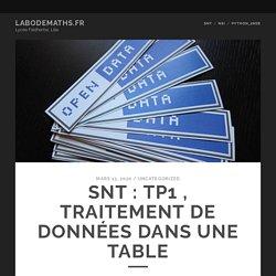 SNT : TP1 , traitement de données dans une table – Labodemaths.fr