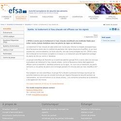 EFSA 02/09/15 Xylella: le traitement à l'eau chaude est efficace sur les vignes