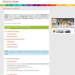 Le traitement des charges directes et des charges indirectes, Soutien scolaire, Cours Information et gestion, Maxicours