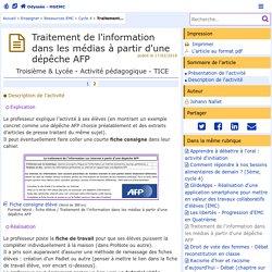 Traitement de l'information dans les médias à partir d'une dépêche AFP - Page 2/2 - Odyssée: Histoire Géographie Éducation civique