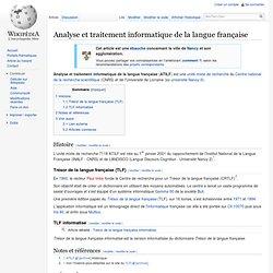 Analyse et traitement informatique de la langue française - Wiki
