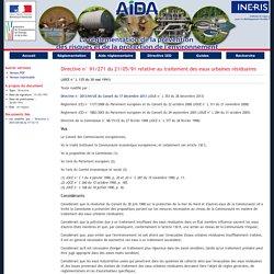 Directive n° 91/271 du 21/05/91 relative au traitement des eaux urbaines résiduaires