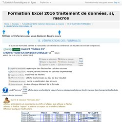 Tutoriel Excel 2016 - Audit de formules