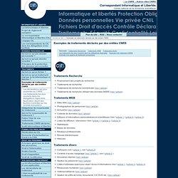 Exemples de traitements déclarés par des entités CNRS