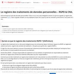 Le registre des traitements de données personnelles – RGPD & CNIL