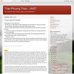 Tran Phuong Thao - JAIST: Tại sao người Do Thái giỏi