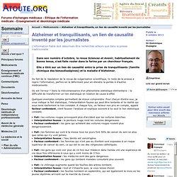 Alzheimer et tranquillisants, un lien de causalité inventé par les journalistes