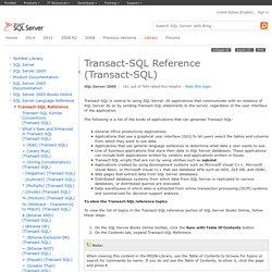 Transact-SQL Reference (Transact-SQL)