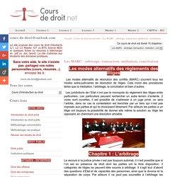 Les MARC : arbitrage, transaction, médiation, conciliation - Cours de droit processuel