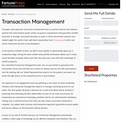 Real Estate Transaction Management Services in Bangalore