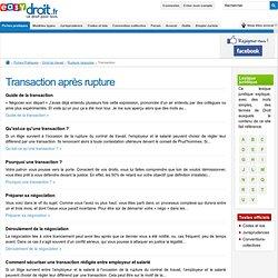 Transaction - La transaction après le licenciement