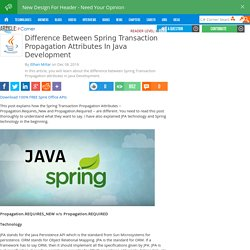 Difference Between Spring Transaction Propagation Attributes In Java Development