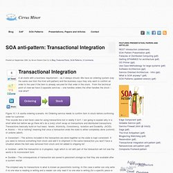 SOA anti-pattern: Transactional Integration | Cirrus Minor