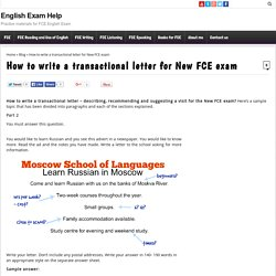 How to write a transactional letter for New FCE exam