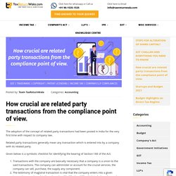 How crucial are related party transactions from the compliance point of view.