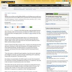 NSA monitored global financial transactions