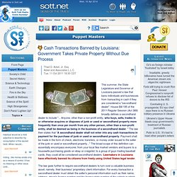 Cash Transactions Banned by Louisiana: Government Takes Private Property Without Due Process