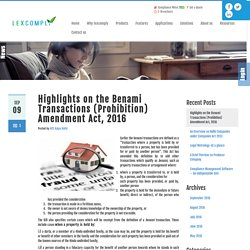 Benami Transaction Amendment Act, 2016