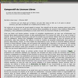 Comparatif de Licences libres - Isabelle Vodjdani