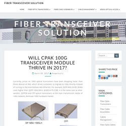 Will CPAK 100G Transceiver Module Thrive in 2017? - Fiber Transceiver Solution