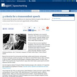 3 criteria for a transcendent speech