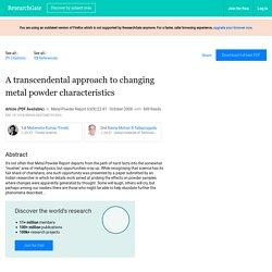 Alteration in Metal Powder Lattice Parameter
