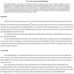 'The Necessity of Transcendental Philosophy'
