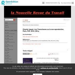 Chantal Jaquet, Les Transclasses ou la non-reproduction, Paris, PUF, 2014, 238p.