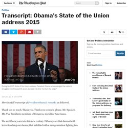 Transcript: Obama's State of the Union address 2015