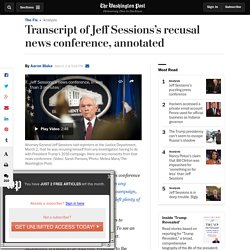 Transcript of Sessions's recusal news conference, annotated