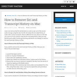 How to Remove Siri and Transcript History on Mac – Directory Nation