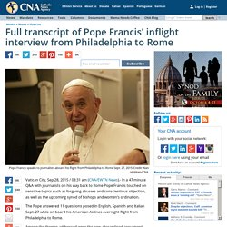 Full transcript of Pope Francis' inflight interview from Philadelphia to Rome