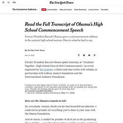 Read the Full Transcript of Obama's High School Commencement Speech