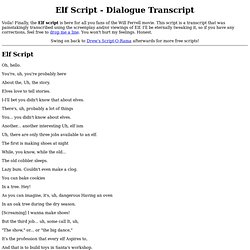 Elf Script - transcript from the screenplay and/or Will Ferrell movie